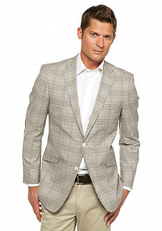 MADE Cam Newton Modern-Fit Brown Plaid with Brown Elbow Patch Sport Coat