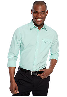 MADE Cam Newton Big & Tall Travis Teal Solid Woven Shirt