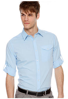 MADE Cam Newton Big & Tall Jazz Blue Solid Woven Shirt