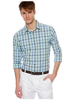 MADE Cam Newton Big & Tall Artist Aqua Plaid Woven Shirt