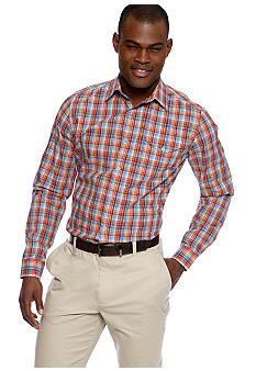 MADE Cam Newton Big & Tall Coral Bay Plaid Long Sleeve Woven Shirt