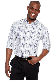MADE Cam Newton Big & Tall White & Blue Plaid Woven Shirt