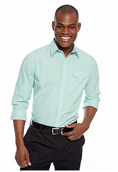 MADE Cam Newton Travis Teal Solid Woven Shirt