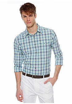 MADE Cam Newton Artist Aqua Plaid Woven Shirt