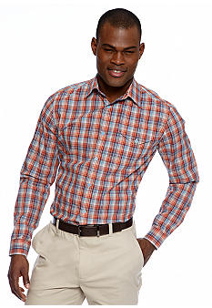 MADE Cam Newton Coral Bay Plaid Long Sleeve Woven Shirt