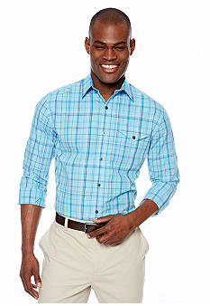 MADE Cam Newton Taruit Turq Plaid Woven Shirt
