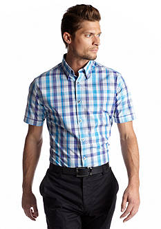 MADE Cam Newton White & Blue Plaid Short Sleeve Shirt