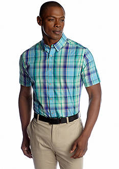 MADE Cam Newton Green & Blue Plaid Short Sleeve Woven Shirt