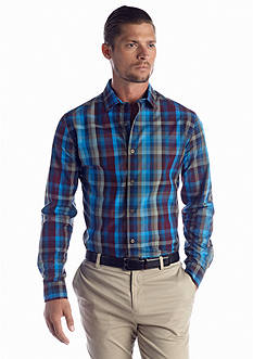 MADE Cam Newton Long Sleeve Plaid Woven Shirt