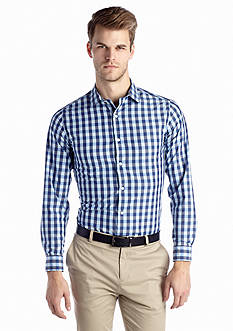 MADE Cam Newton Non-Iron Medium Blue Gingham Woven Shirt