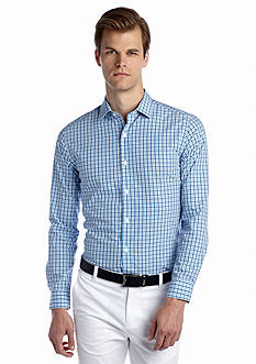 MADE Cam Newton Long Sleeve No Iron Blue Mini Gingham Shirt