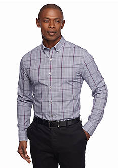 MADE Cam Newton Long Sleeve Non Iron Glen Plaid Plum Dress Shirt