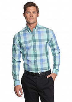 MADE Cam Newton Large Mint Plaid Long Sleeve Shirt
