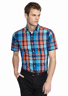 MADE Cam Newton Short Sleeve Plaid Shirt