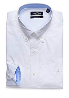 Nautica Classic Fit Solid Button Down Collar Poplin Dress Shirt
