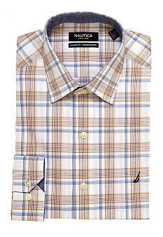 Nautica Classic Fit Plaid Ocean Washed Dress Shirt