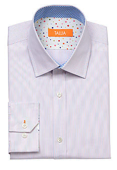 Tallia Orange Slim Fit Striped Dress Shirt