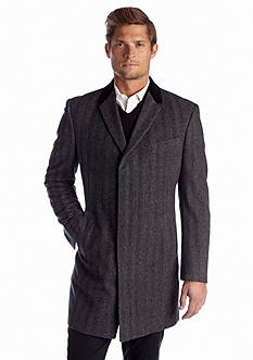 Tommy Hilfiger Bleeker Charcoal Herringbone Overcoat