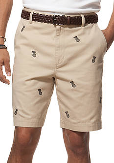 Chaps Embroidered Twill Shorts