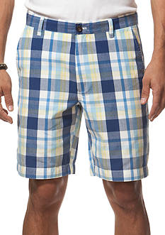 Chaps Flat-Front Plaid Shorts