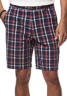 Chaps Flat-Front Plaid Shorts