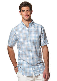 Chaps Short-Sleeve Plaid Linen-Cotton Shirt