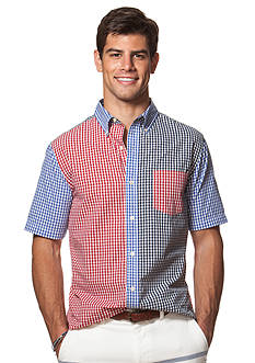 Chaps Short-Sleeve Color-Blocked Checked Shirt