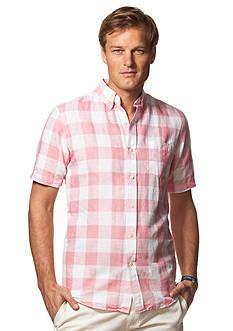 Chaps Short-Sleeve Checked Linen-Cotton Shirt