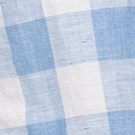 Men: Chaps Casual Shirts: Marathon Blue Chaps Short-Sleeve Checked Linen-Cotton Shirt