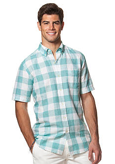 Chaps Short-Sleeve Checked Linen-Cotton Shirt