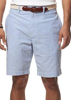 Chaps Flat-Front Seersucker Shorts