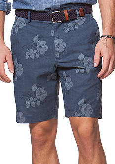 Chaps Flat-Front Floral Shorts