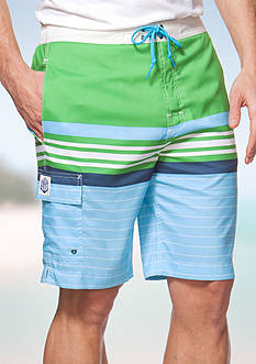 Chaps Big & Tall Striped Board Shorts