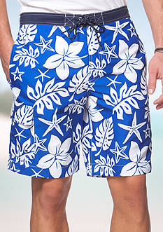 Chaps Big & Tall Floral Swim Shorts