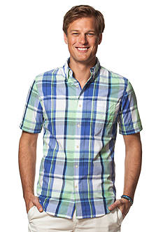 Chaps Big & Tall Short-Sleeve Plaid Shirt