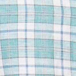 Chaps Big & Tall Sale: Palm Beach Green Chaps Big & Tall Short-Sleeve Plaid Linen-Cotton Shirt