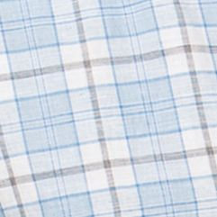 Chaps Big & Tall Sale: Morgan Blue Chaps Big & Tall Short-Sleeve Plaid Linen-Cotton Shirt