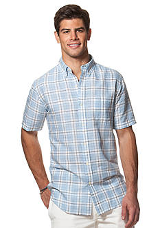 Chaps Big & Tall Short-Sleeve Plaid Linen-Cotton Shirt