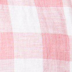 Chaps Big & Tall Sale: Peaceful Coral Chaps Big & Tall Short-Sleeve Checked Linen-Cotton Shirt