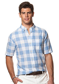 Chaps Big & Tall Short-Sleeve Checked Linen-Cotton Shirt