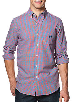 Chaps Big & Tall Mini-Checked Poplin Shirt