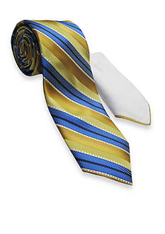 Steve Harvey Textured Stripe Tie and Pocket Square Set