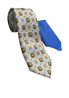 Steve Harvey Medallion Tie and Pocket Square Set