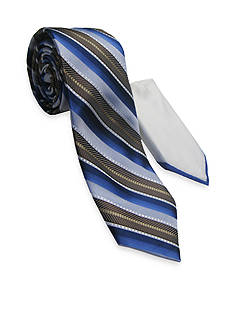 Steve Harvey Extra Long Textured Stripe Tie and Pocket Square Set