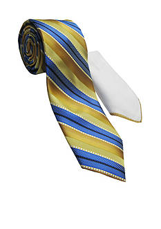 Steve Harvey Extra Long Textured Stripe Tie and Pocket Square Set