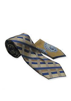 Steve Harvey Extra Long Grid Tie and Pocket Square Set