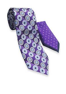 Steve Harvey Extra Long Circle Stripe Tie and Pocket Square Set