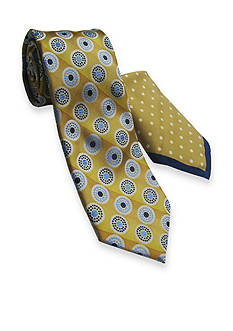 Steve Harvey Extra Long Circle Stripe Tie and Pocket Square Set