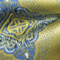 Men: Bow Ties Sale: Yellow Steve Harvey Medallion Bow Tie and Solid Pocket Square