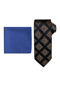 Steve Harvey Medallion Neck Tie and Solid Pocket Square